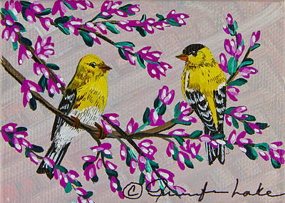 Painting - My Little Goldfinches by Jennifer Lake