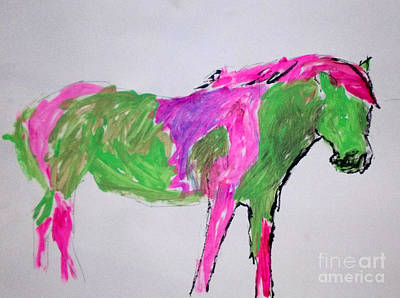 Painting - My Little Green Pony by Patries Van Dokkum