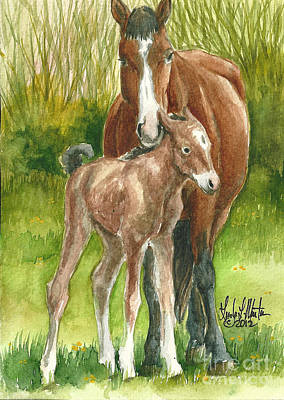 Mustang A Day Challenge Painting - My Little One by Linda L Martin