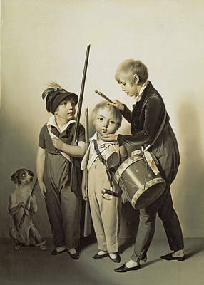 Of Artist Photograph - My Little Soldiers, 1809 Oil On Canvas by Louis Leopold Boilly