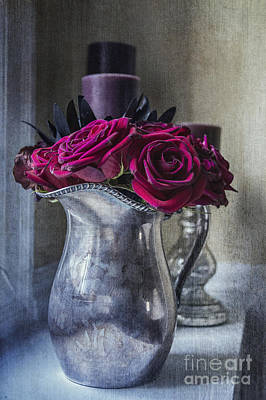 Antique Roses Vase Wall Art - Photograph - My Love Is Like A Red Red Rose by Terry Rowe