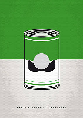 Brothers Digital Art - My Mario Warhols Minimal Can Poster-luigi by Chungkong Art