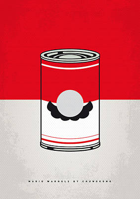 Brothers Digital Art - My Mario Warhols Minimal Can Poster-mario by Chungkong Art