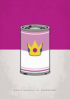 Level Digital Art - My Mario Warhols Minimal Can Poster-peach by Chungkong Art