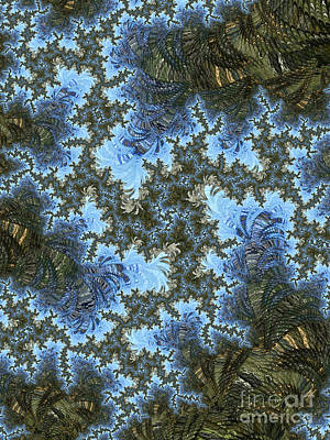 Digital Art - My Maui Fractal Art Abstract Palms And Blue Sky And Waters by Heidi Smith