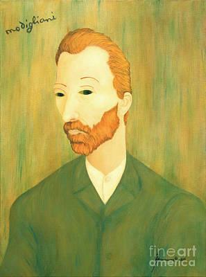 Mental Illness Painting - My Modigliani Style Vincent Van Gogh by Jerome Stumphauzer