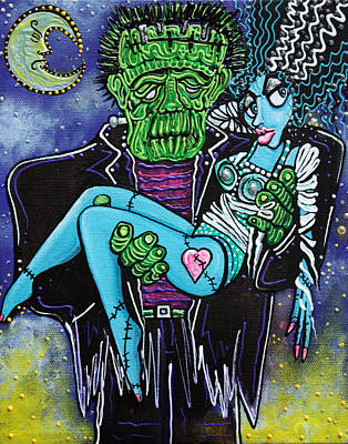 Bride Of Frankenstein Painting - My Monster My Bride by Laura Barbosa