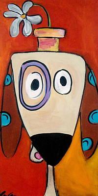 Weiner Dog Painting - My Morning Daisy Dog by Carla MacDiarmid