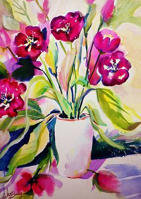 Painting - My Morning Tulips Opened Sold Original by Therese Fowler-Bailey