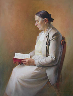 My Mother Reading The Bible Art Print