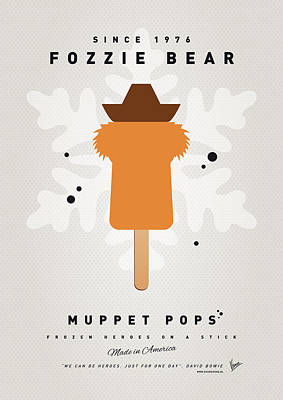 Icecream Digital Art - My Muppet Ice Pop - Fozzie Bear by Chungkong Art