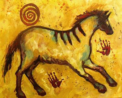 Painting - My New Yellow  Lascaux Horse by Carol Suzanne Niebuhr