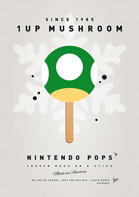 Coins Digital Art - My Nintendo Ice Pop - 1 Up Mushroom by Chungkong Art