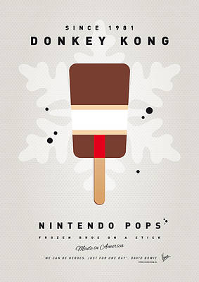 Peach Digital Art - My Nintendo Ice Pop - Donkey Kong by Chungkong Art