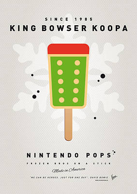 Peach Digital Art - My Nintendo Ice Pop - King Bowser by Chungkong Art