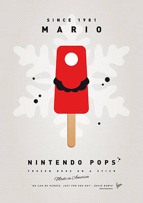 Icecream Digital Art - My Nintendo Ice Pop - Mario by Chungkong Art