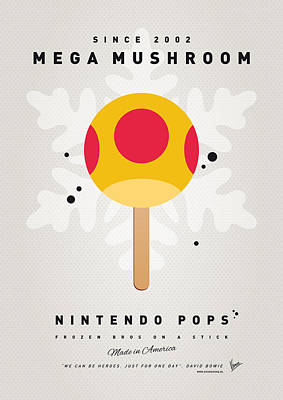 Peach Digital Art - My Nintendo Ice Pop - Mega Mushroom by Chungkong Art
