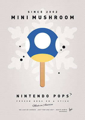 My Nintendo Ice Pop - Mini Mushroom Art Print by Chungkong Art
