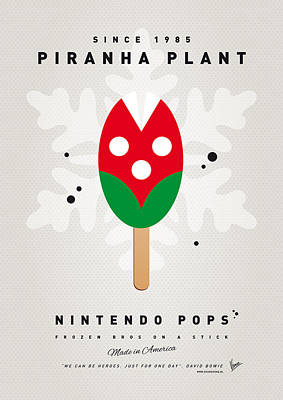 Super Mario Bros Art Digital Art - My Nintendo Ice Pop - Piranha Plant by Chungkong Art