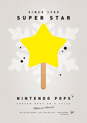 Mushroom Digital Art - My Nintendo Ice Pop - Super Star by Chungkong Art