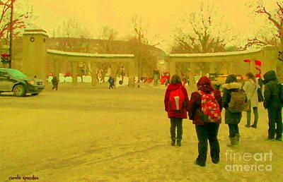 Roddick Gates Painting - My Old Alma Mater Mcgill University Golden Olden Days Montreal Memories City Scenes Carole Spandau by Carole Spandau
