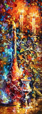 Wine Bottle Painting - My Old Thoughts 2 by Leonid Afremov