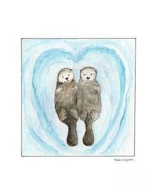 Otter Drawing - My Otter Half by Erica Vojnich