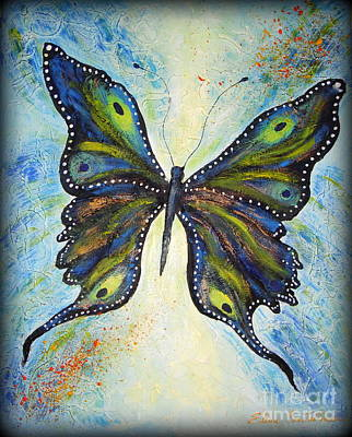 Painting - My Peacock Butterfly by Elena  Constantinescu