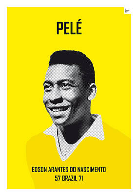 Digital Art - My Pele Soccer Legend Poster by Chungkong Art