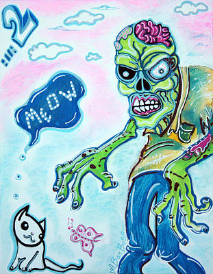 Zombie Painting - My Pet Zombie #2 / Here Kitty Kitty by Laura Barbosa