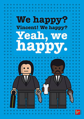 Tarantino Digital Art - My Pulp Fiction Lego Dialogue Poster by Chungkong Art