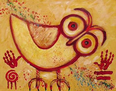 Ancient Indian Art Painting - My Red Primitive Owl by Carol Suzanne Niebuhr