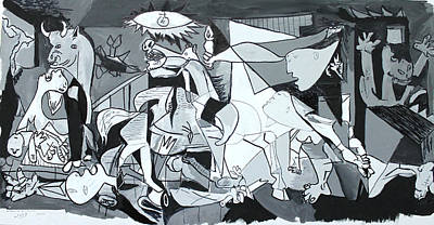 Drawing - My Rendition Of Guernica by Miguel Rodriguez