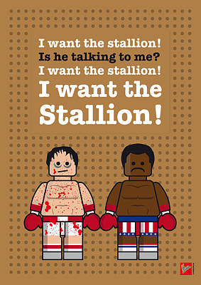 Stallone Digital Art - My Rocky Lego Dialogue Poster by Chungkong Art