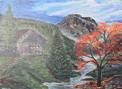 Canoe Waterfall Painting - My Secret Hide Out by Edward Walsh