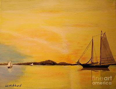 Bill Hubbard Acrylic Painting - My Ship Lies Awaiting In The Harbor by Bill Hubbard
