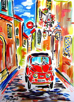 Fiat Car Painting - My Sister Fiat 500 In 1968 by Roberto Gagliardi