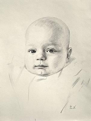 Art Print featuring the drawing My Son Peter 2008 by Svitozar Nenyuk