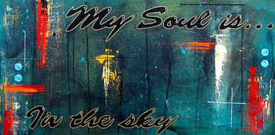 Dog Abstract Art Painting - My Soul Is...in The Sky by Tom Fedro - Fidostudio