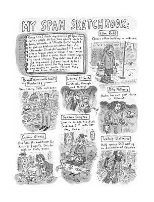 My Spam Sketchbook Art Print by Roz Chast