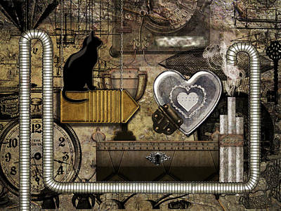 Digital Art - My Steampunk Heart by Barbara  White