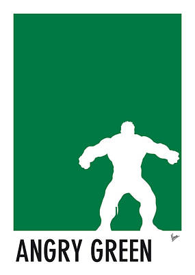 Super Hero Digital Art - My Superhero 01 Angry Green Minimal Poster by Chungkong Art