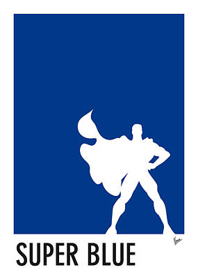 Batman Digital Art - My Superhero 03 Super Blue Minimal Poster by Chungkong Art