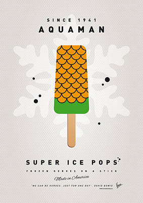 Icecream Digital Art - My Superhero Ice Pop - Aquaman by Chungkong Art