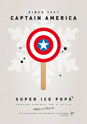 Icecream Digital Art - My Superhero Ice Pop - Captain America by Chungkong Art
