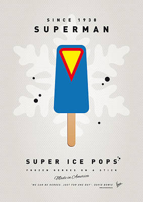 Icecream Digital Art - My Superhero Ice Pop - Superman by Chungkong Art