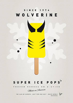 Icecream Digital Art - My Superhero Ice Pop - Wolverine by Chungkong Art