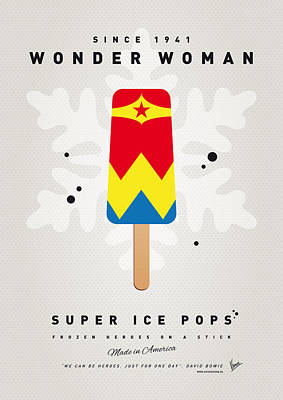 Super Hero Digital Art - My Superhero Ice Pop - Wonder Woman by Chungkong Art
