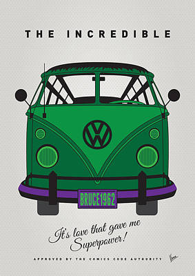 Digital Art - My Superhero-vw-t1-hulk by Chungkong Art