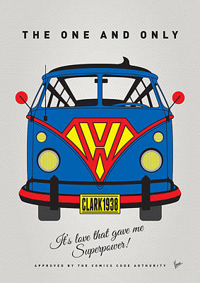 Cars Digital Art - My Superhero-vw-t1-superman by Chungkong Art